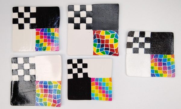 polymer clay test tiles with U-POL